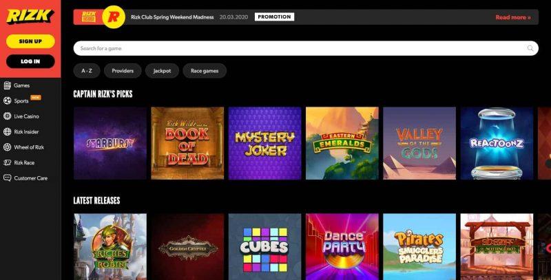 rizk casino jeux