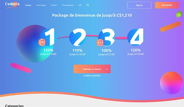 L'interface de Cadoola Casino