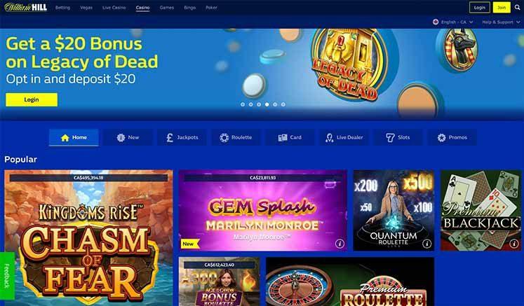 L'interface du Casino William Hill