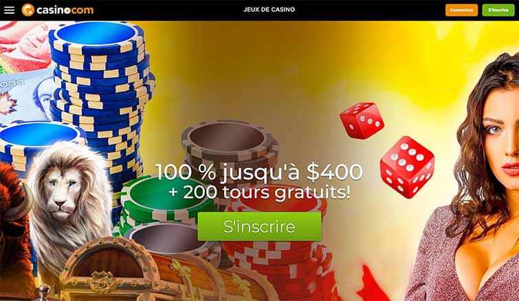 L'interface de Casino.com