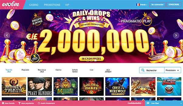 L'interface d'Evolve casino