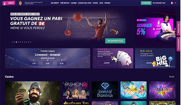 L'interface de Vbet Casino