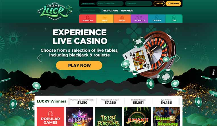 L'interface du Vegas Luck Casino