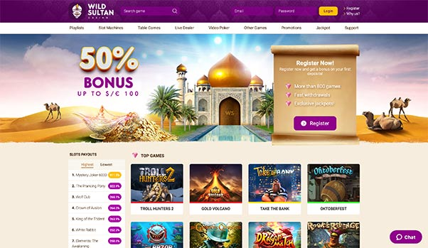 L'interface de Wild Sultan Casino