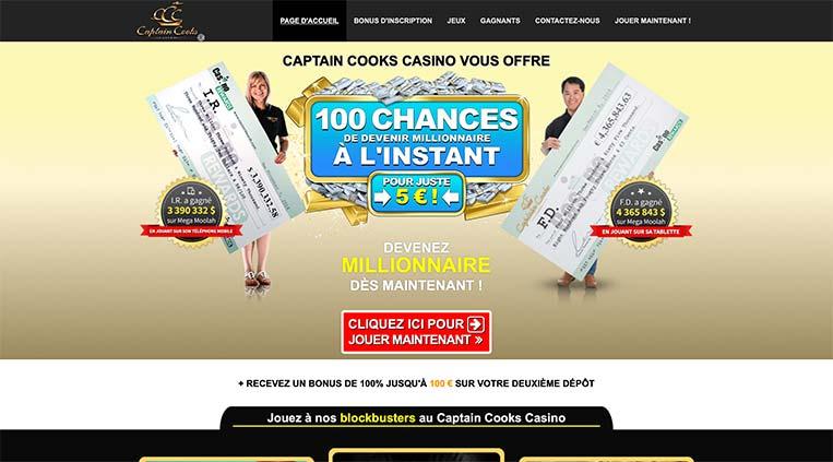L'interface du Casino Captain Cooks