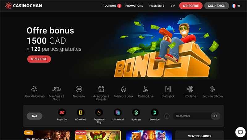 L'interface de Betchan Casino