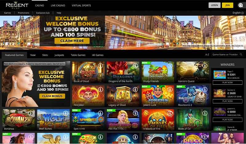 L'interface de Regent Casino