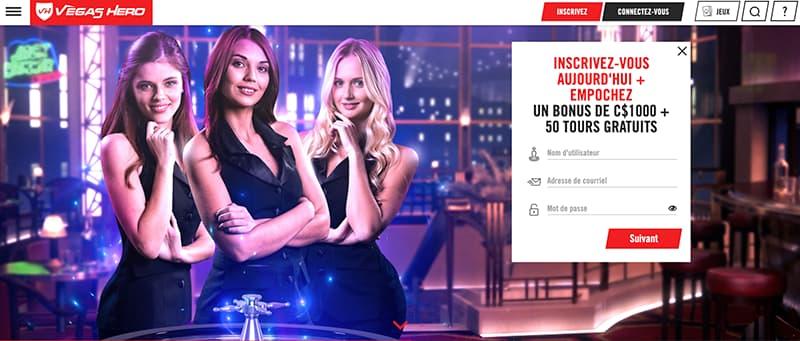 vegas hero casino online interface capture d'ecran